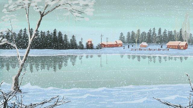 현실적인 아름다운 첫 번째 눈 겨울 풍경 삽화 소재 삽화 이미지