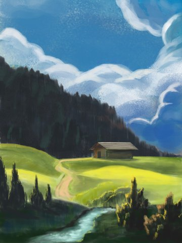 晴れた日の風景手描きの山の森 イラスト素材