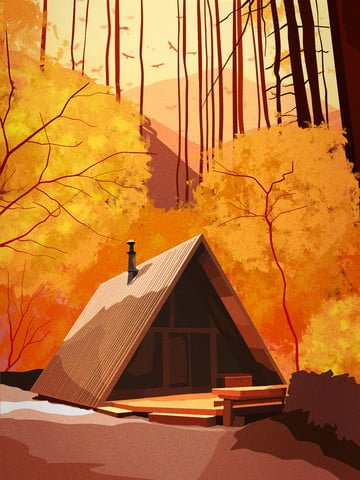 Hand-painted realistic landscape of november forest lodge autumn scenery, Hand Painted, Realistic, Illustration illustration image