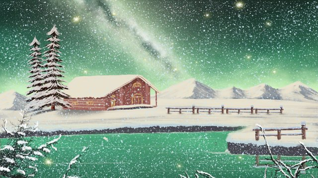 hand painted realistic aurora borealis snow scene beautiful starry sky winter good night hello llustration image illustration image