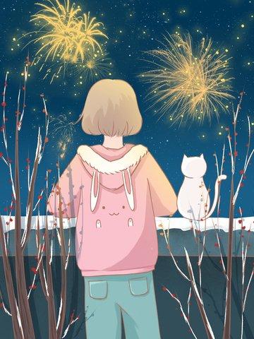 女の子と子猫の壁に花火を見ての幸せな新年の日イラスト イラスト素材