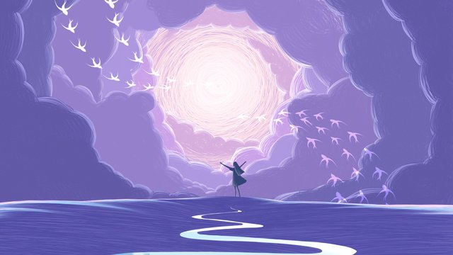 癒し系コイルイラスト手描き少女空を抱いて イラスト素材 イラスト画像