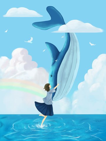 Fresh and beautiful dreams cure the whales sea blue when girl embraces whale llustration image