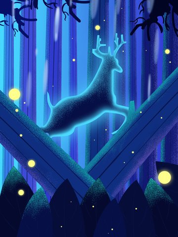 The fresh and beautiful healing system lin shen sees deer glow illustration, Healing, Forest And Deer, Forest illustration image