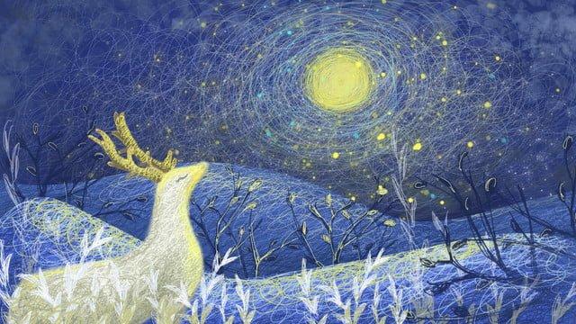 Healing coils starry sky with deer llustration image