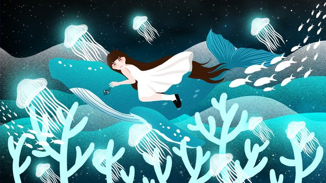 Healing dreamy deep sea meet whale illustrator, Healing System Illustration, Fantasy Illustration, Healing Whale Illustration illustration image
