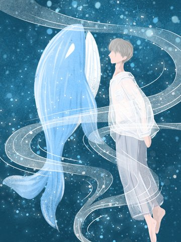 Boy and whale watching the deep sea when healing illustration, Healing, Whale, Sea illustration image