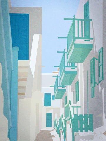 좋은 아침 분위기 작은 신선한 마을 아름다운 골목 삽화 소재 삽화 이미지
