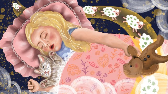 good mood night how many sheep sleeping little girl cute cat llustration image