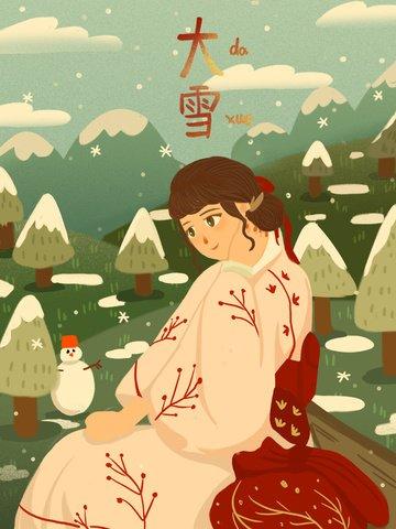 雪の日着物の少女が山で雪を見て イラスト素材