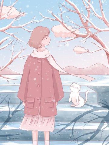 1 월 안녕하세요 신선한 수채화 그림 소녀와 고양이 눈에 삽화 소재 삽화 이미지