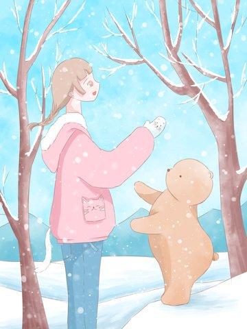 1 월 안녕하세요 신선한 수채화 그림 소녀와 눈 속에서 곰 삽화 소재 삽화 이미지