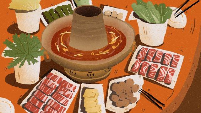 Hot pot gourmet food illustration llustration image