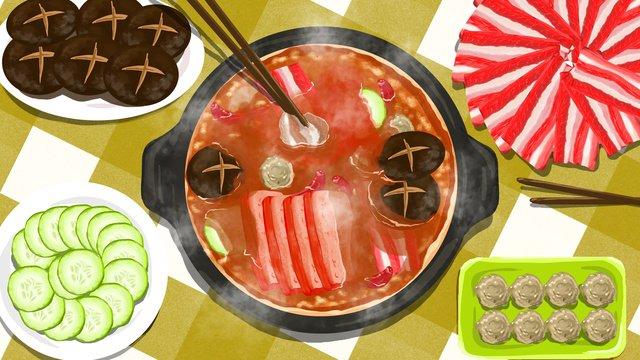 Hot pot gourmet original illustration llustration image