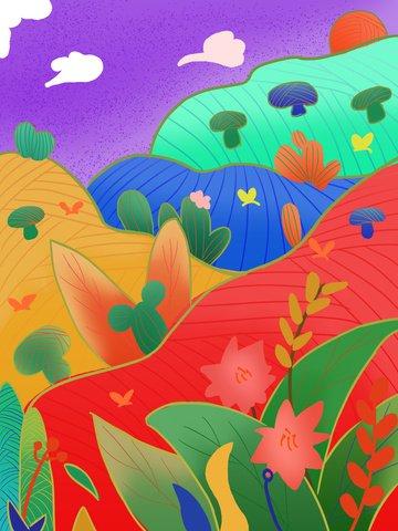 地図付きオリジナルフラワー植物の輝き イラスト素材