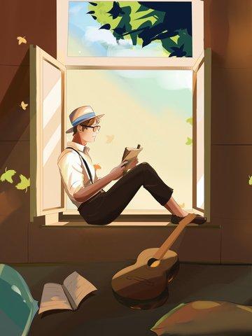 夢を引く本、少年、美しい漫画イラスト イラスト素材
