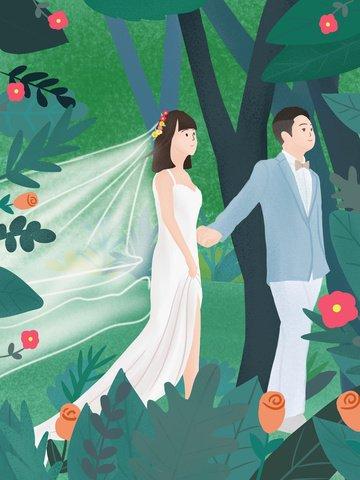 美しいロマンチックな結婚式のシーン イラスト素材