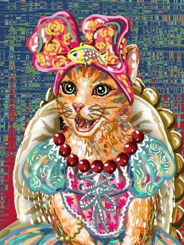 猫は椅子に座って模倣油絵女性猫スカート笑顔を覚えている イラスト画像
