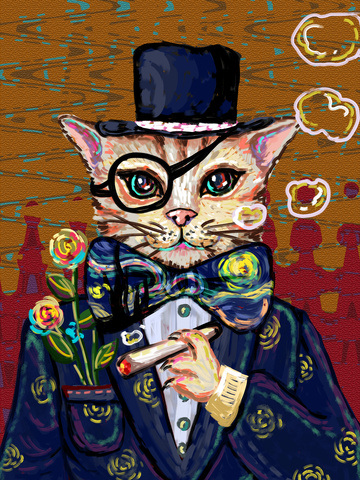 喵记 impression oil painting smoking retro cat smoke circle gentleman suit llustration image
