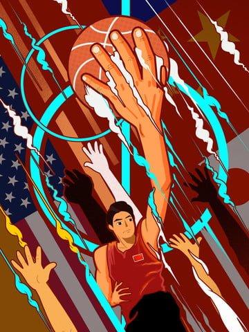 ngày quốc tế bóng rổ chàng trai chơi hot blood minh họa Hình minh họa