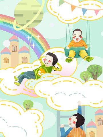 국제 어린이 날 아기의 스카이 시티 웜 힐링 일러스트레이션 삽화 소재 삽화 이미지