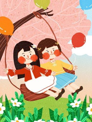 international childrens day kids swinging cute simple flat original illustration llustration image