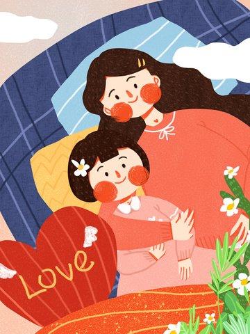 international childrens day mother accompanying daughter cute minimalist original illustration llustration image