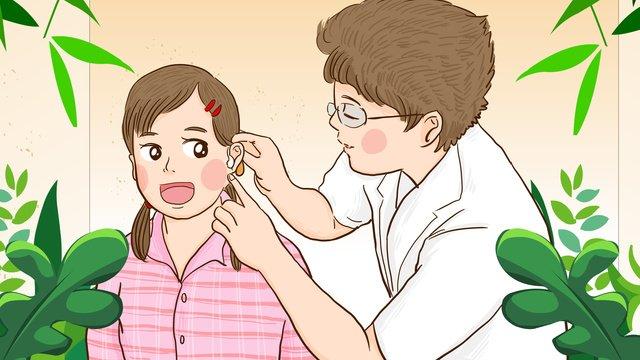 các bác sĩ của hội khuyết tật quốc tế tặng máy trợ thính cho bé gái để kiểm tra giác Hình minh họa