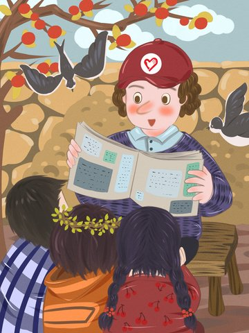 अंतर्राष्ट्रीय स्वयंसेवक दिवस के बच्चों को अंग्रेजी पढ़ने लिए पीछे छोड़ देते हैं चित्रण छवि