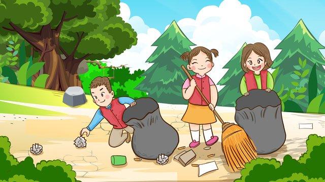 森の中の森を掃除する国際ボランティアデーのボランティア イラスト素材 イラスト画像