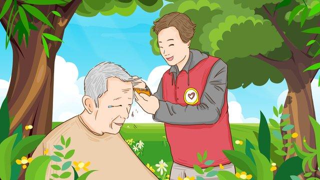 अंतर्राष्ट्रीय स्वयंसेवक दिवस स्वयंसेवकों ने बुजुर्गों के लिए मुफ्त बाल कटवाने का चित्रण किया चित्रण छवि