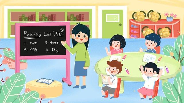 幼稚園クラス冬休み家庭教師クラス教師クラステスト イラスト素材