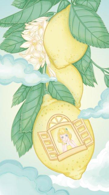 lemon檸檬小清新少女夢幻插畫 插畫圖片