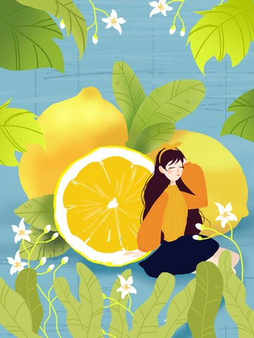 original small fresh girl lemon cartoon illustration llustration image