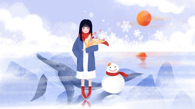 Little snow beautiful bouquet girl and snowman, Light Snow, Girl, Bouquet Girl illustration image