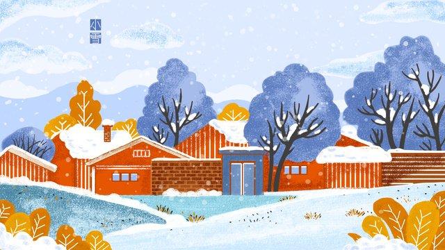 Little snow twenty-four solar terms cartoon cute, Light Snow, Twenty-four Solar Terms, Cartoon illustration image