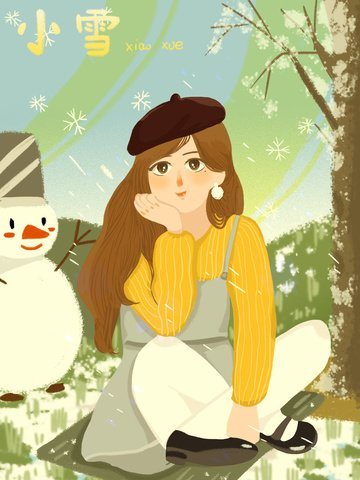 Little snow is playing outside cute cartoon girl and snowman interacting flat llustration image illustration image