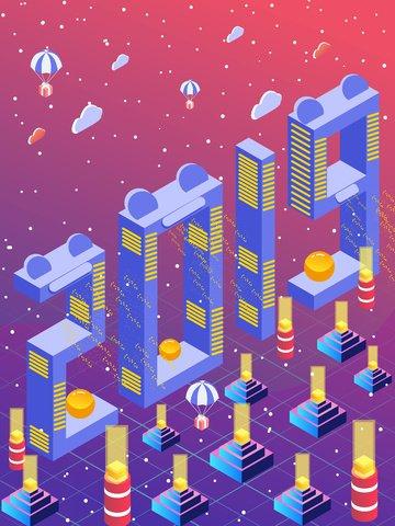 2019 hello technology era 2.5d vector illustration, Light, Technology Era, 2019 illustration image