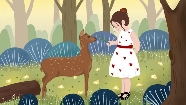 Lin shen sees the elegant interaction between deer and girl, Lin Shen, See Deer, Sika Deer illustration image