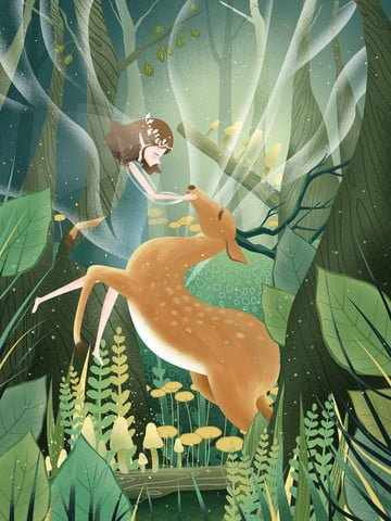 original hand painted illustration lin shen see deer girl with llustration image illustration image