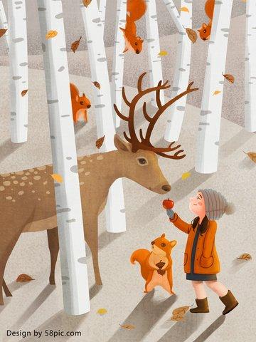 Lin deep see deer girl with original hand drawn illustration, Lin Shenjian Deer, Forest, Girl illustration image