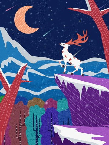 Lin shenjian deer night cure department original illustration, Lin Shenjian Deer, Night, Snowing illustration image
