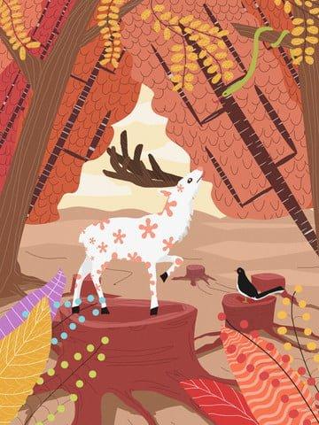 Lin shen sees the deer healing system original illustration, Lin Shenjian Deer, Tree Stump, Elk illustration image