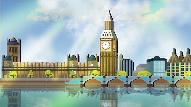런던 랜드 마크 실루엣 일러스트 삽화 소재 삽화 이미지