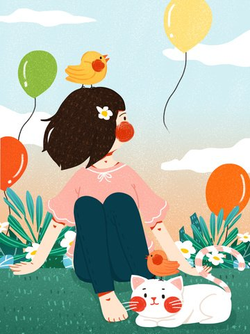Looking at the sky Lookout sky Cloud, Cat, Girl, Little Bird illustration image