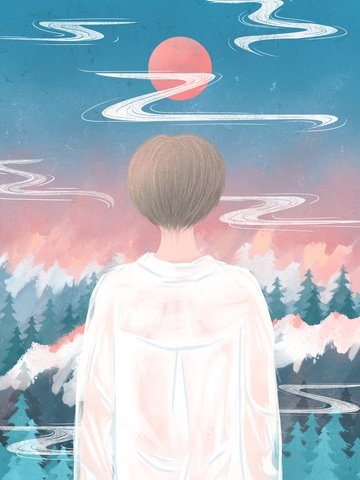 Boy looking out to the sky at texture illustration, Looking At The Sky, Sky, Sunset illustration image