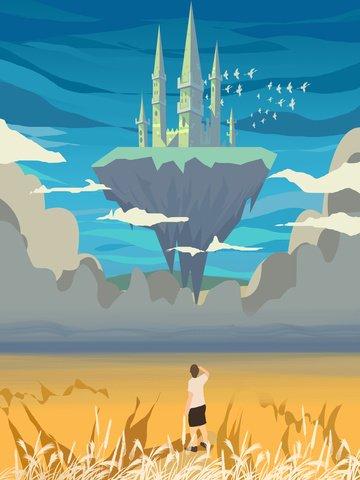 展望台空テクスチャイラスト空を見て  テクスチャの図  空中の城 PNGおよびPSD illustration image