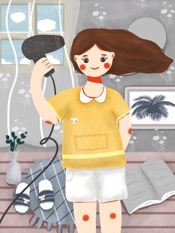 cute illustration good morning little fresh beautiful girl blowing hair llustration image