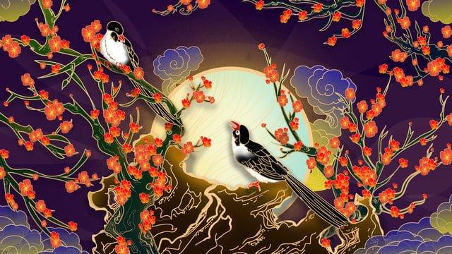 ambilight сорока сливы цвести облако луна иллюстрация живопись Ресурсы иллюстрации Иллюстрация изображения