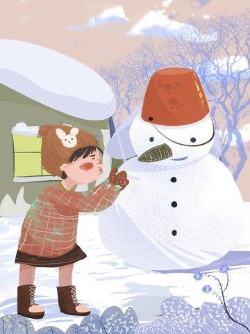 original illustration of a little girl making snowman llustration image